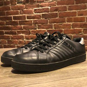 Prada Black Leather Low-top Fashion Logo Sneakers